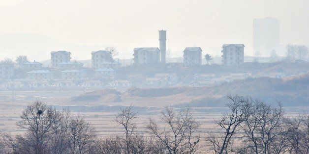 North Korea's propaganda village of Gijungdong is seen from a South Korean military check point of the truce village of Panmu