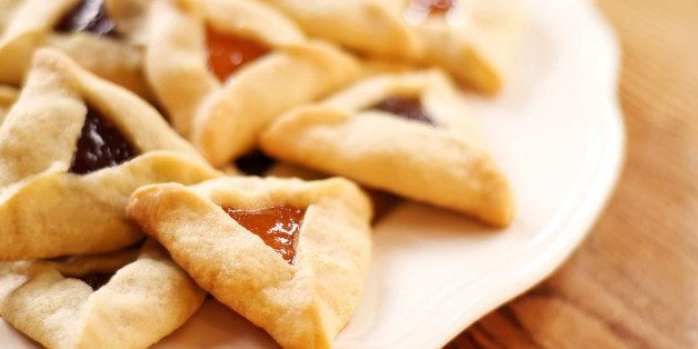 Traditional hamantaschen cookies for the Jewish festival of Purim.