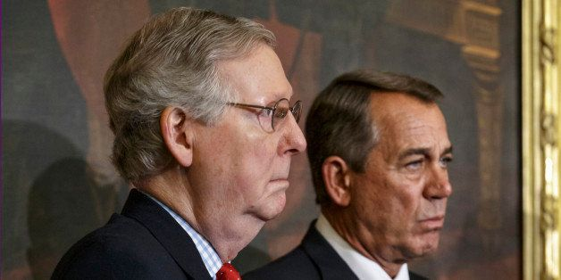 Senate Majority Leader Mitch McConnell of Ky., left, and House Speaker John Boehner of Ohio, stand together on Capitol Hill i