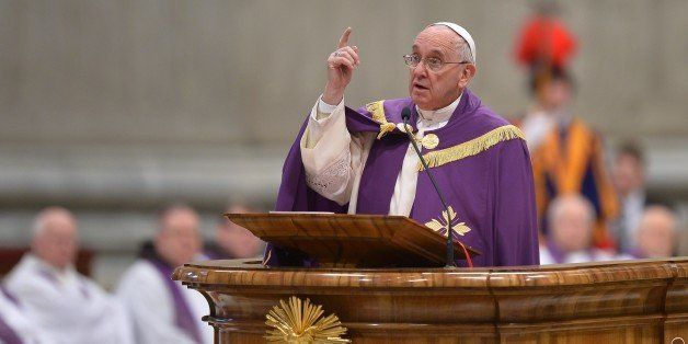 Pope Francis speaks during a penitential ceremony on March 13, 2015 at St Peter's basilica in Vatican. Pope Francis declared
