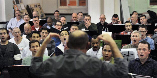 WASHINGTON, DC -  NOVEMBER 20 Jeff Buhrman, artistic director, leads the Gay Men's Chorus of Washington D.C. - the largest of