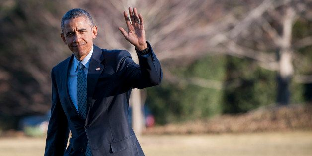 WASHINGTON, DC - MARCH 18:  U.S. President Barack Obama arrives on the South Lawn of the White House March 18, 2015 in Washin