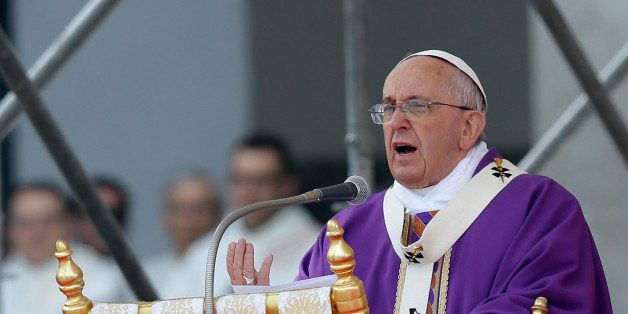Pope Francis celebrates a Mass in Naples, Italy, Saturday, March 21, 2015. Pope Francis made an impassioned defense of the un