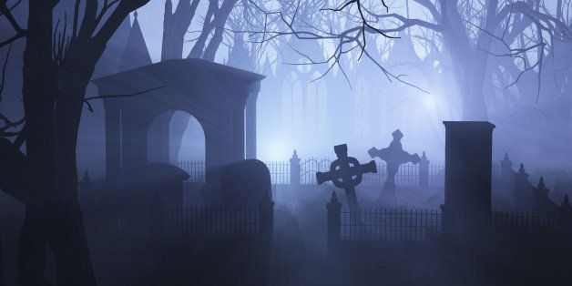 3D render depicting an overgrown neglected cemetery in misty twilight.