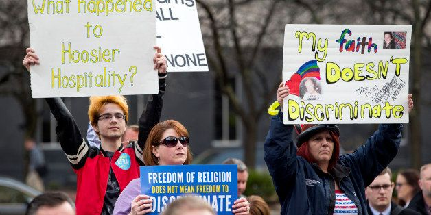 INDIANAPOLIS, IN - MARCH 30:  Demonstrators  gather outside the City County Building on March 30, 2015 in Indianapolis, India