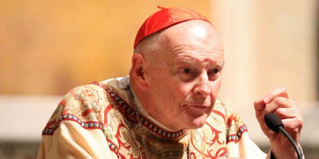 Retired Archbishop of Washington Cardinal Theodore McCarrick gives a sermon during a mass to honor the victims of the recent