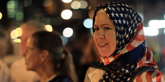 NEW YORK - SEPTEMBER 10:  Patty Anton, an American who is a practicing Muslim, attends a rally in support of religious freedo