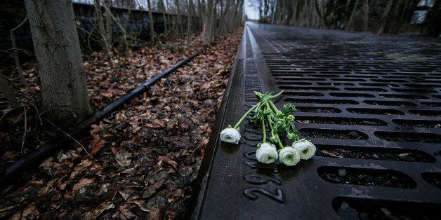 BERLIN, GERMANY - JANUARY 27:  Roses left by mourners lie next to one of the many plaques detailing transports of Berlin Jews