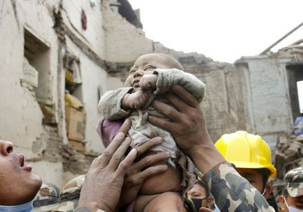n this Sunday, April 26, 2015, photo taken by Amul Thapa and provided by KathmanduToday.com, four-month-old baby boy Sonit Aw