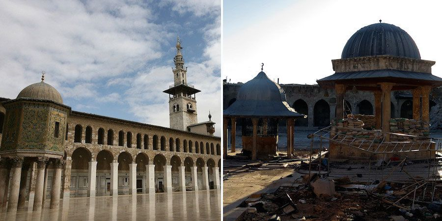 """The 11th-Century minaret of the Umayyad Mosque, a UNESCO world heritage site in Aleppo, was <a href=""""http://www.bbc.com/news/"""