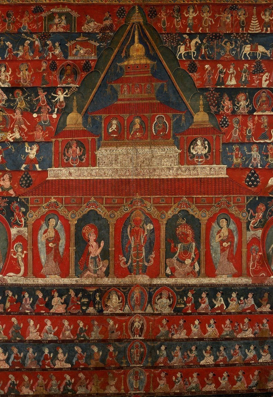 This scroll paintings (paubha), one of the largest in the world, depicts the temple of Rato Macchendranath in the ancient kin