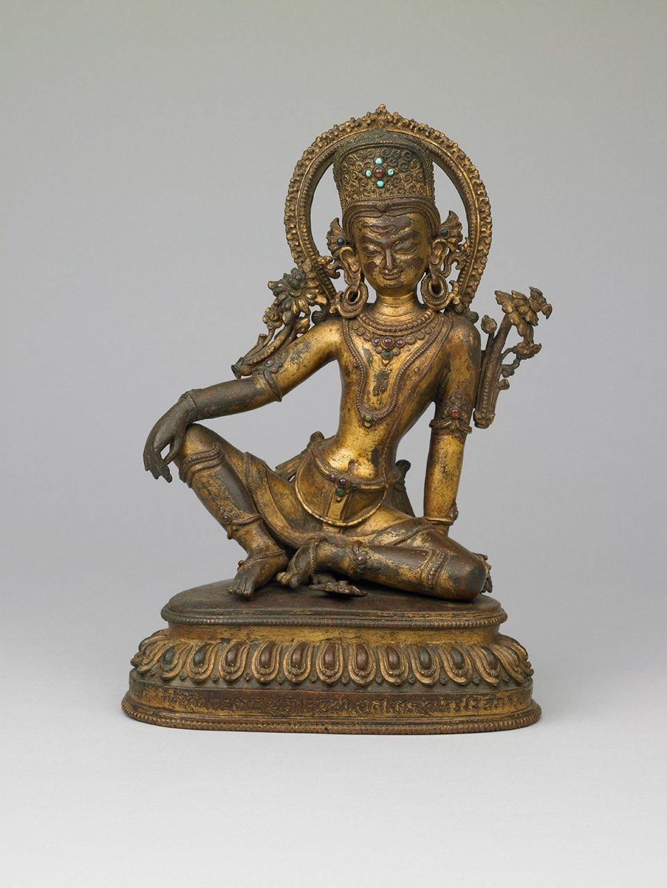 Indra, the Hindu god of gods (1463), gilt copper alloy with inset turquoise and semiprecious stone inlays