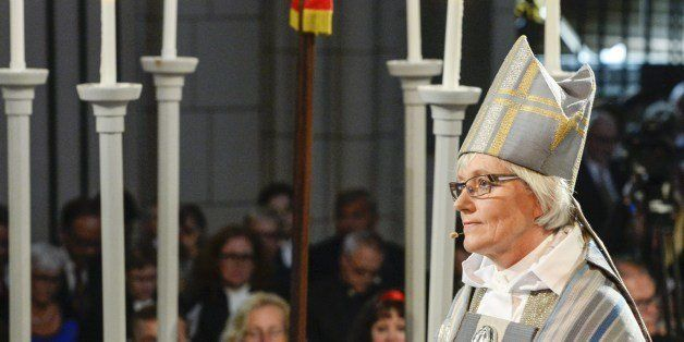 New archbishop of the Church of Sweden Antje Jackelen attends her installation mass at the Uppsala Cathedral, on June 15, 201