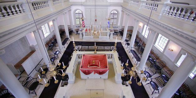 """In this Thursday, May 28, 2015 photo Touro Synagogue, the nation's oldest, is seen from the """"ladies gallery"""" in Newport, R.I."""