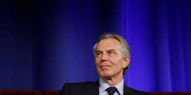 Former British Prime Minister Tony Blair listens to his introduction before he speaks at Lafayette College on Monday, April 8