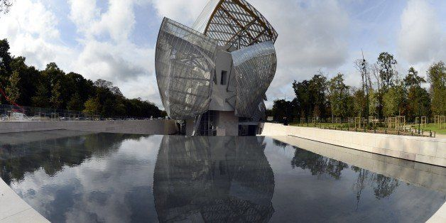 View of the Louis Vuitton Foundation designed by Canadian-American architect Frank Gehry in the Bois de Boulogne in Paris on