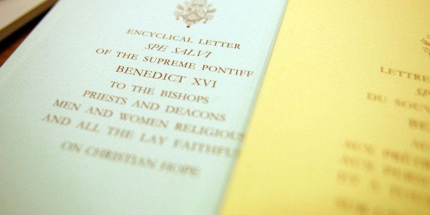 "A view of the text of the ""Spe Salvi"" (Saved by Hope) encyclical letter, signed by Pope Benedict XVI at the Vatican, Friday N"