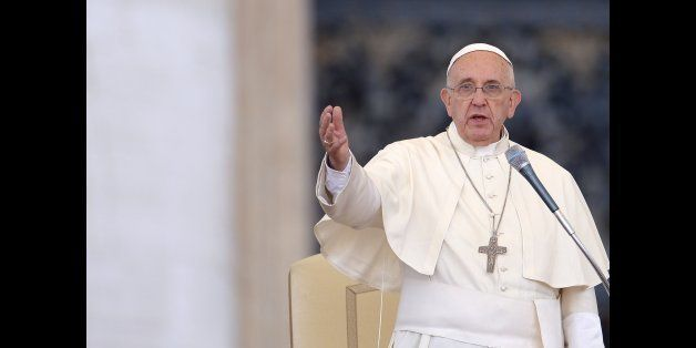 Pope Francis gives an audience to the participants at the Convention of Rome Diocese at St Peter's square on June 14, 2015 at