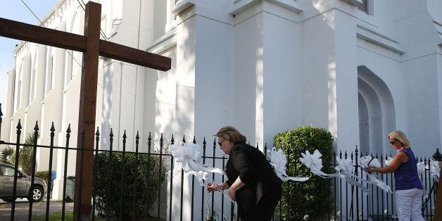 CHARLESTON, SC - JUNE 18: Ribbons are placed on the fence in front of the Emanuel African Methodist Episcopal Church after a