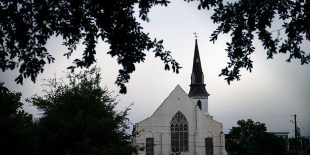 An evening view of the Emanuel AME Church June 18, 2015 in Charleston, South Carolina. Dylann Storm Roof has been arrested in