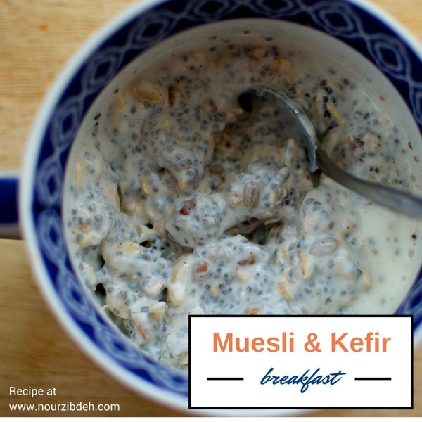 Make this mix early in the week and eat it over a few nights. Muesli is a good source of fiber and can be low in sugar if you