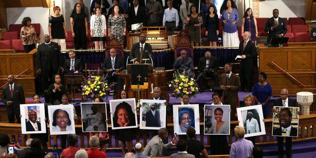 WASHINGTON, DC - JUNE 19:  Photographs of the nine victims killed at the Emanuel African Methodist Episcopal Church in Charle