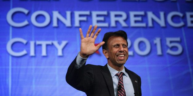 OKLAHOMA CITY, OK - MAY 22:  Louisiana Governor Bobby Jindal waves during the 2015 Southern Republican Leadership Conference