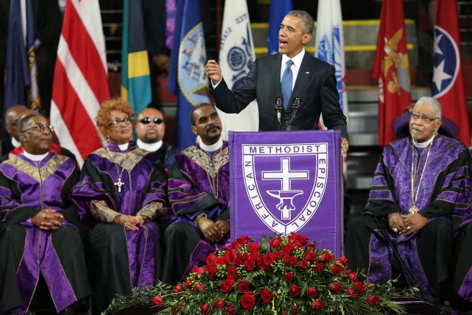 CHARLESTON, SC - JUNE 26:  U.S. President Barack Obama delivers the eulogy for South Carolina state senator and Rev. Clementa
