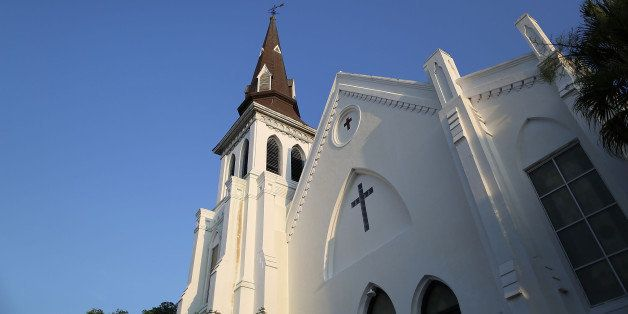 CHARLESTON, SC - JUNE 22:  The Emanuel African Methodist Episcopal Church is seen after a mass shooting five days that killed