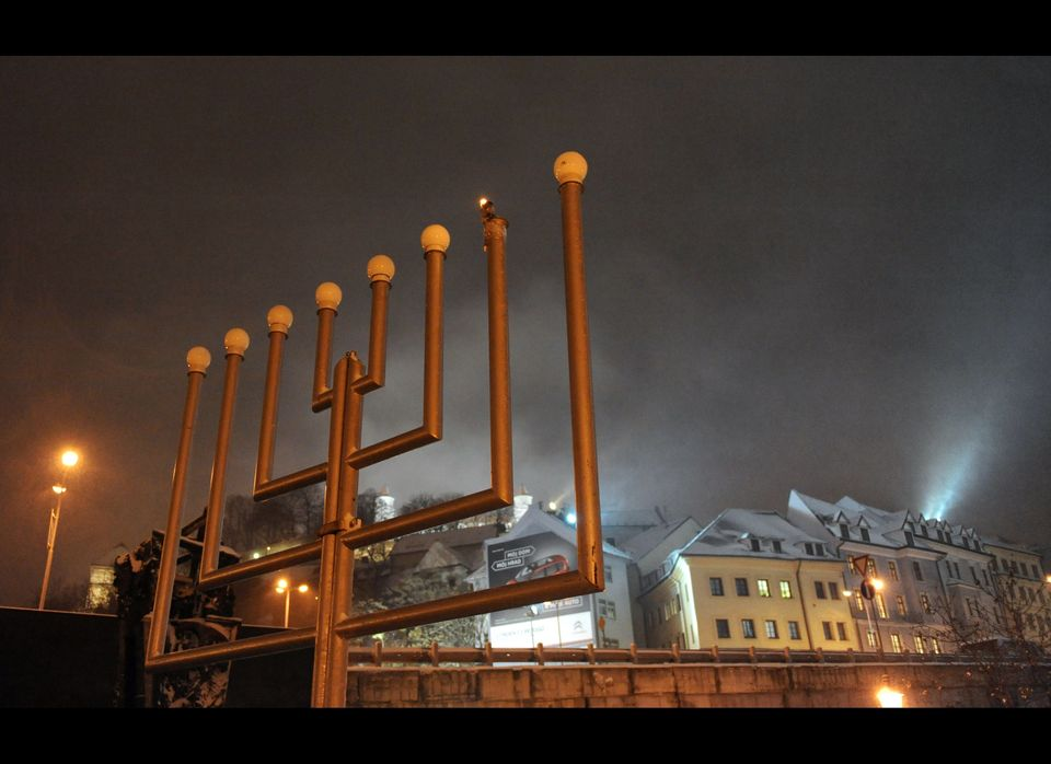 The first candle of a five meter menorah is lit during the first day of the Jewish holiday, Hanukkah, in Bratislava on Decemb