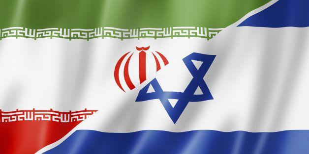 Mixed Iran and Israel flag, three dimensional render, illustration