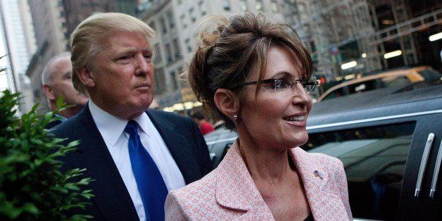 NEW YORK, NY - MAY 31:  Former U.S. Vice presidential candidate and Alaska Governor Sarah Palin (R), and Donald Trump walk to