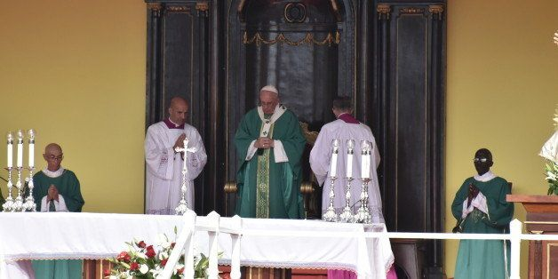 REVOLUTION SQUARE, HAVANA, CUBA - 2015/09/20: Pope Francis or Papa Francisco offers the first Catholic mass in the Revolution