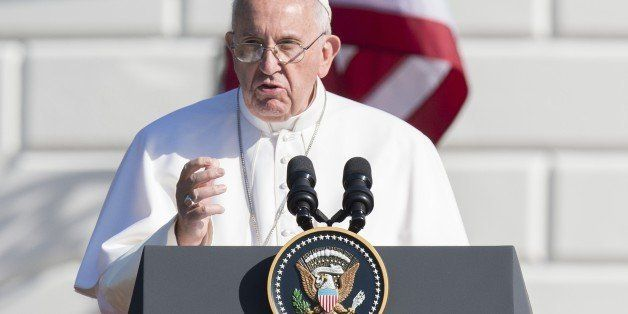 Pope Francis speaks during an arrival ceremony on the South Lawn of the White House in Washington, DC, September 23, 2015. Mo