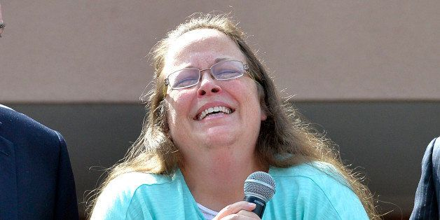 Rowan County Clerk Kim Davis pauses as she speaks after being released from the Carter County Detention Center, Tuesday, Sept