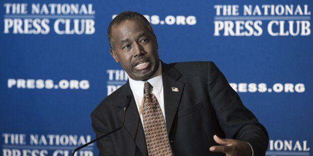 Republican presidential candidate Ben Carson speaks as he discuss his new book 'A More Perfect Union: What We the People Can