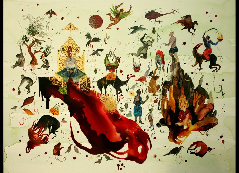 <em>Red Moon and Alkhidr</em>, Shiva Ahmadi, 2010: This painting, done on aquaboard, makes  repeated references to Islamic my