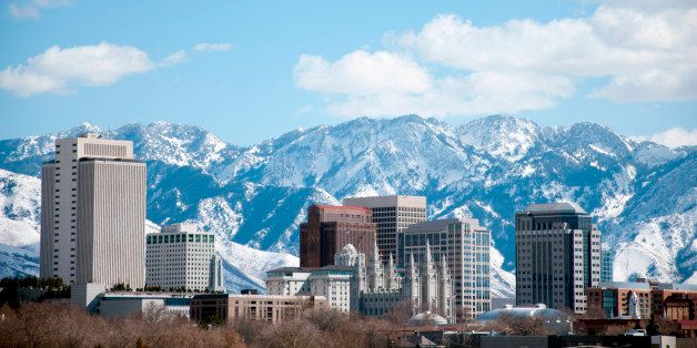 Winter daytime shot of Salt Lake City.  Featured is the temple from the Church of Jesus Christ of Latter Day Saints or the Mo