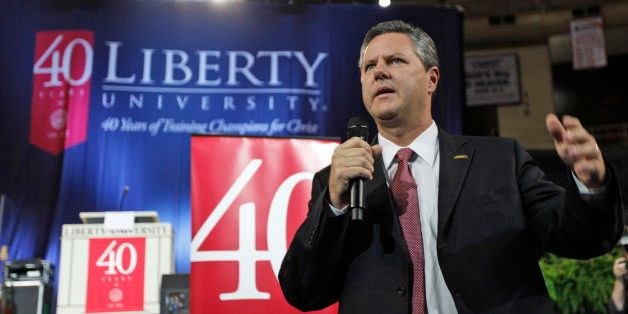 Chancellor of Liberty University, Jerry Falwell Jr., gestures at Liberty University  in Lynchburg, Va., Wednesday, Sept. 28,