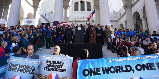 LOS ANGELES, UNITED STATES - DECEMBER 13: Hundreds of Californians, mostly including Muslims, gather during a protest against