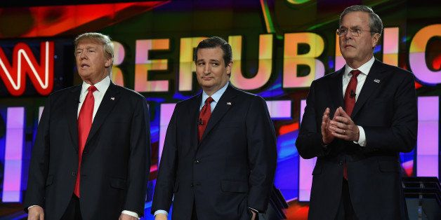 LAS VEGAS, NV - DECEMBER 15:  Republican presidential candidates (L-R) Donald Trump, Sen. Ted Cruz and Jeb Bush stand on stag