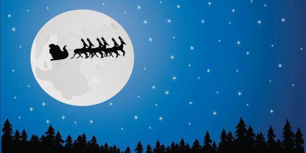 Santa in the moonlight