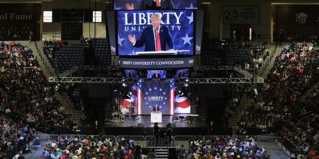 LYNCHBURG, VA - JANUARY 18:  Republican presidential candidate Donald Trump delivers the convocation at the Vines Center on t