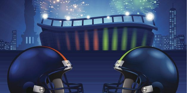 Super Bowl 48 football game concept illustration. EPS 10 file. Transparency effects used on highlight elements.