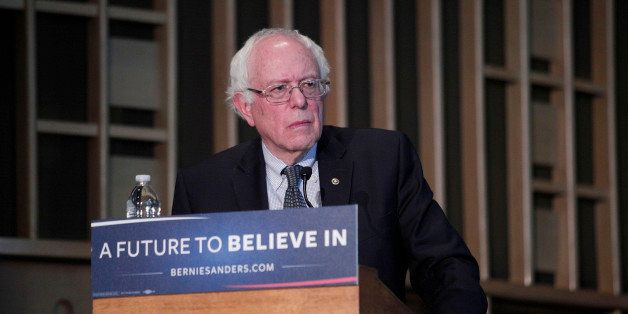 FLINT, MI - FEBRUARY 25: Democratic Presidential Candidate Sen. Bernie Sanders (D-VT) speaks at a community forum on the wate