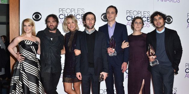 Melissa Rauch, and from left, Johnny Galecki, Kaley Cuoco, Simon Helberg, Jim Parsons, Mayim Bialik, and Kunal Nayyar pose in