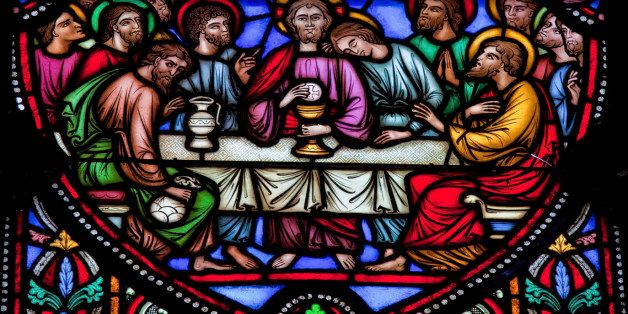 Jesus and the twelve apostles on maundy thursday at the Last Supper. This window is located in the cathedral of Brussels and