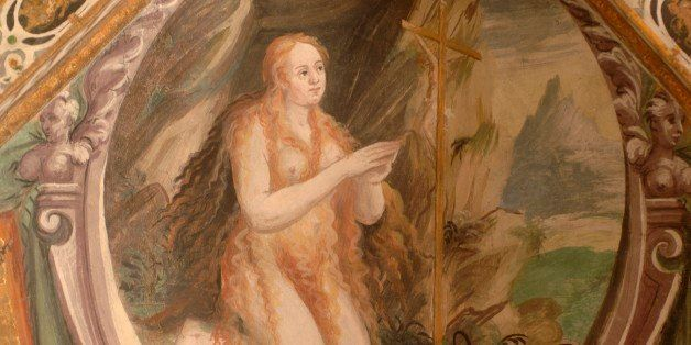 ITALY - DECEMBER 24: Mary Magdalene, detail from the stories of Mary Magdalene, fresco, Chapel of the Barons of Cly (ca 1576)