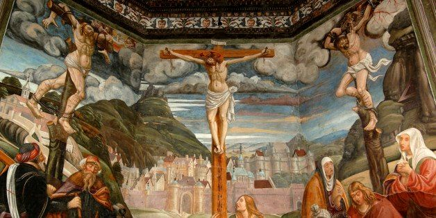 ITALY - DECEMBER 24: The Crucifixion (16th century), fresco by a master of the Lombard school, Church of St Sebastian (16th c