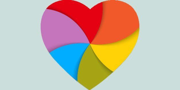 The heart painted in color of a rainbow. Symbol of a peace movement and freedom. Vector illustration.